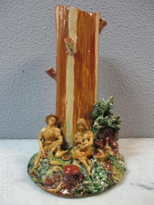 Antigüedades: Antiguo Centro de Mesa - Jarrón - Escultura en Terracota - Figuras, Comiendo en la Fuente - Foto 31 - 71631867