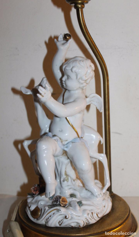 Antigüedades: LÁMPARA CON ANGELOTE Y CERVATILLO EN PORCELANA DE ALGORA - MEDIADOS DEL SIGLO XX - Foto 9 - 71666727