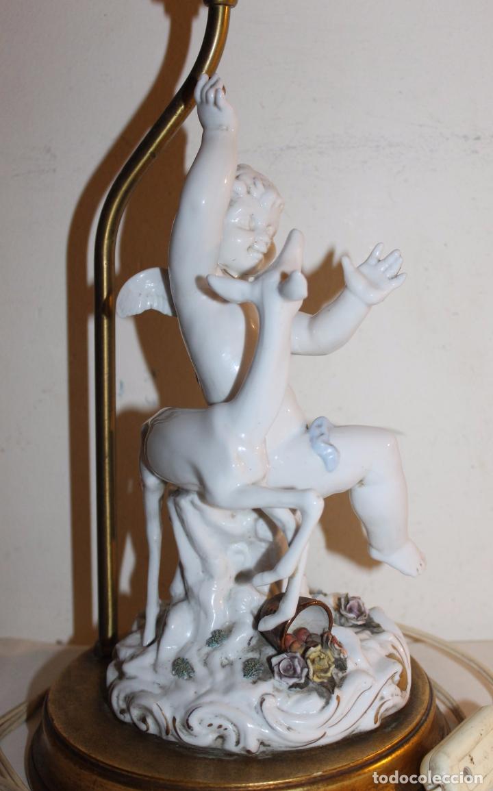 Antigüedades: LÁMPARA CON ANGELOTE Y CERVATILLO EN PORCELANA DE ALGORA - MEDIADOS DEL SIGLO XX - Foto 16 - 71666727