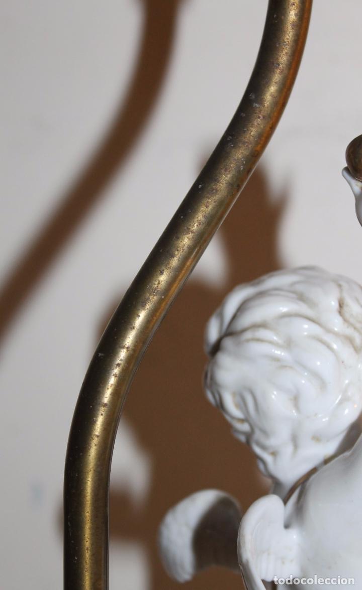 Antigüedades: LÁMPARA CON ANGELOTE Y CERVATILLO EN PORCELANA DE ALGORA - MEDIADOS DEL SIGLO XX - Foto 17 - 71666727