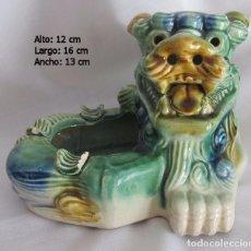 Antigüedades: PERRO FOO VIDRIADO VERDE MARRON. Lote 71672799