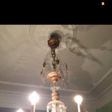 Antigüedades: LAMPARA Y 2 CANDELABROS CRISTAL DE ROCA. Lote 71694881