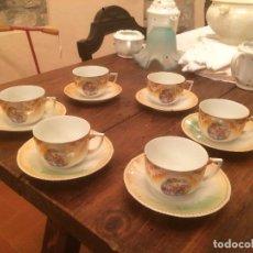Antigüedades: ANTIGUO JUEGO DE CAFÉ / VAJILLA DE PORCELANA CON BONITO DIBUJO CAMPESTRE AÑOS 20-30. Lote 71730783