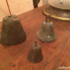 Antigüedades: ANTIGUAS 3 CAMPANA / CAMPANAS DE BRONZE DEL SIGLO XIX . Lote 71759347