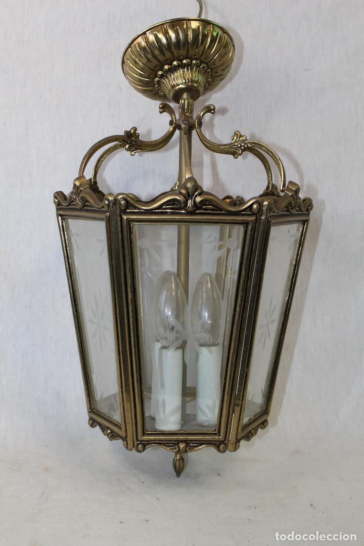 LAMPARA DE TECHO FAROL EN BRONCE CON CRISTALES GRABADOS (Antigüedades - Iluminación - Faroles Antiguos)