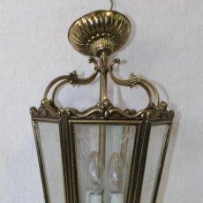 Antigüedades: LAMPARA DE TECHO FAROL EN BRONCE CON CRISTALES GRABADOS. Lote 71764379