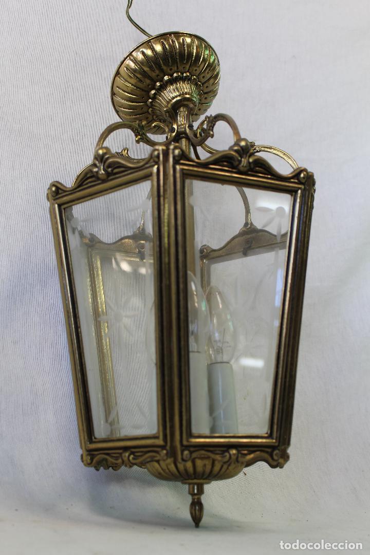 Antigüedades: lampara de techo farol en bronce con cristales grabados - Foto 2 - 71764379