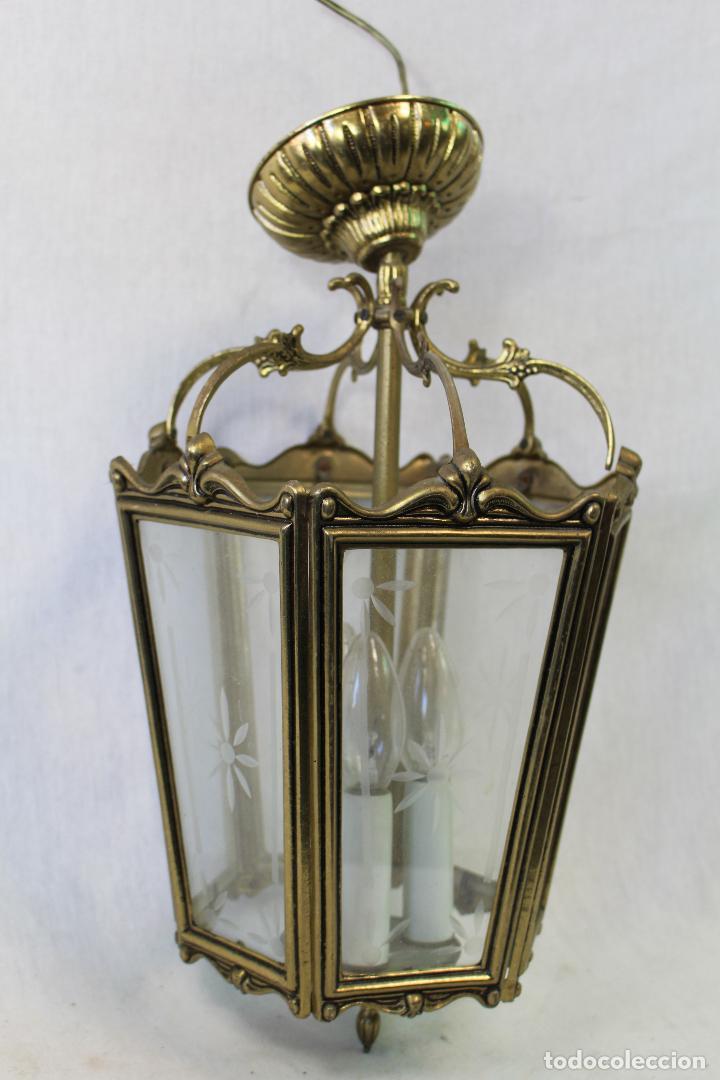 Antigüedades: lampara de techo farol en bronce con cristales grabados - Foto 3 - 71764379