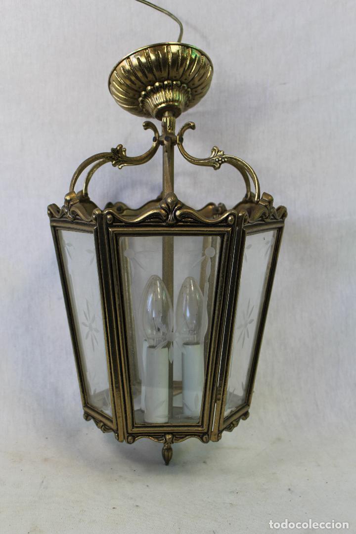Antigüedades: lampara de techo farol en bronce con cristales grabados - Foto 5 - 71764379