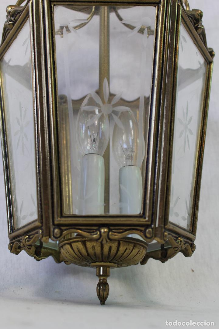 Antigüedades: lampara de techo farol en bronce con cristales grabados - Foto 6 - 71764379