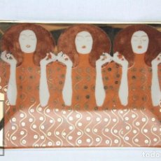 Antigüedades: CENICERO / PEQUEÑA BANDEJA DE PORCELANA VIDRIADA - PINTURA DE GUSTAV KLIMT - BELVEDERE. Lote 71776547