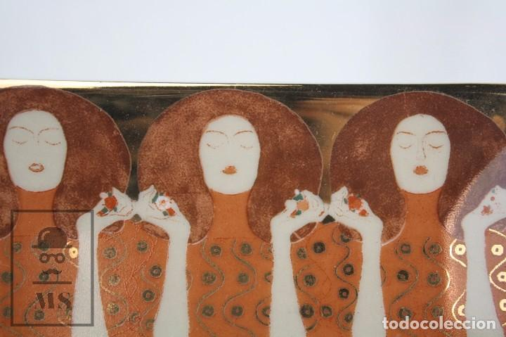 Antigüedades: Cenicero / Pequeña Bandeja de Porcelana Vidriada - Pintura de Gustav Klimt - Belvedere - Foto 3 - 71776547