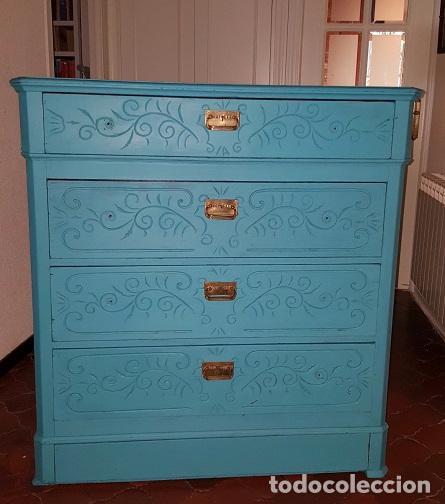 Antigüedades: Preciosa cómoda modernista pintada en azul turquesa. - Foto 8 - 111523623