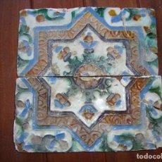 Antigüedades: PAREJA DE AZULEJOS DE TRIANA SIGLO XVI. Lote 71821703