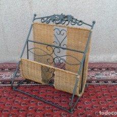 Antigüedades: REVISTERO DE MIMBRE Y HIERRO, REVISTERO ANTIGUO VINTAGE.. Lote 71842363