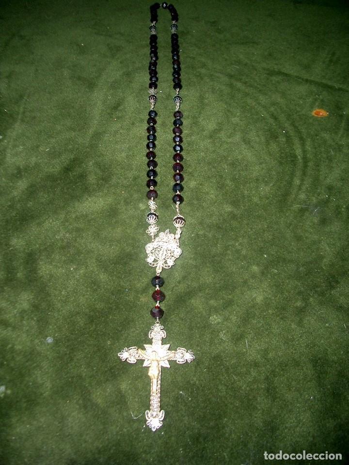 GRAN ROSARIO EN FILIGRANA DE PLATA Y CRISTAL COLOR GRANADA.CA1 (Antigüedades - Religiosas - Rosarios Antiguos)