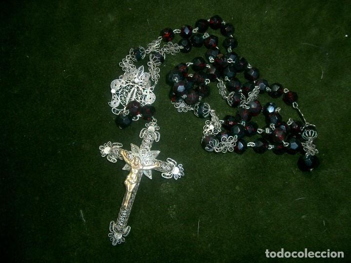 Antigüedades: Gran rosario en filigrana de plata y cristal color granada.ca1 - Foto 3 - 71892619