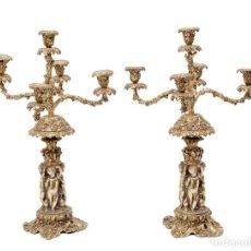 Antigüedades: PAREJA DE CANDELABROS DE PRINCIPIOS DEL SIGLO XX. BRONCE DORADO. MEDIDAS: 70 X 40 CM. Lote 71924315
