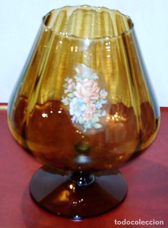 BONITA COPA DE CRISTAL TRABAJADO EN COLOR AMBAR (Antigüedades - Cristal y Vidrio - Otros)