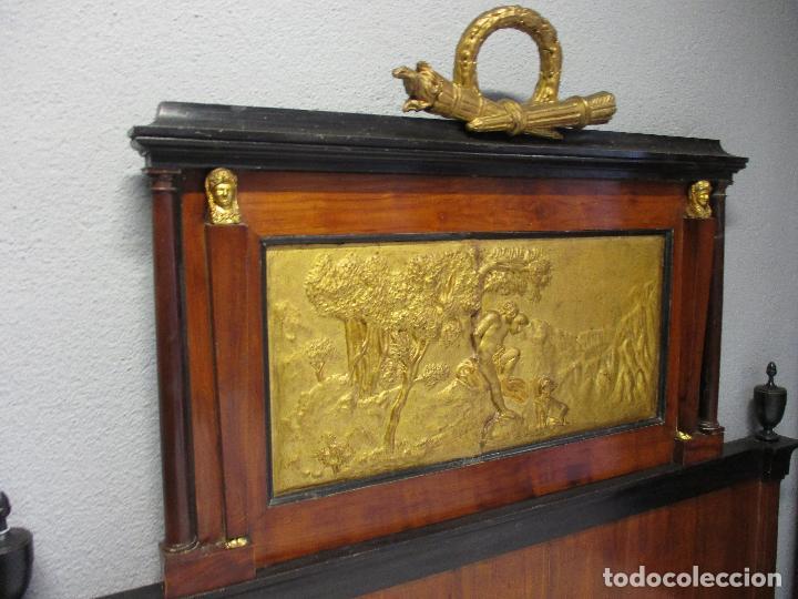 Antigüedades: Antigua Cama - Carlos IV - Madera de Caoba - Escultura en Terracota - Finales Siglo XVIII - Foto 12 - 72047155