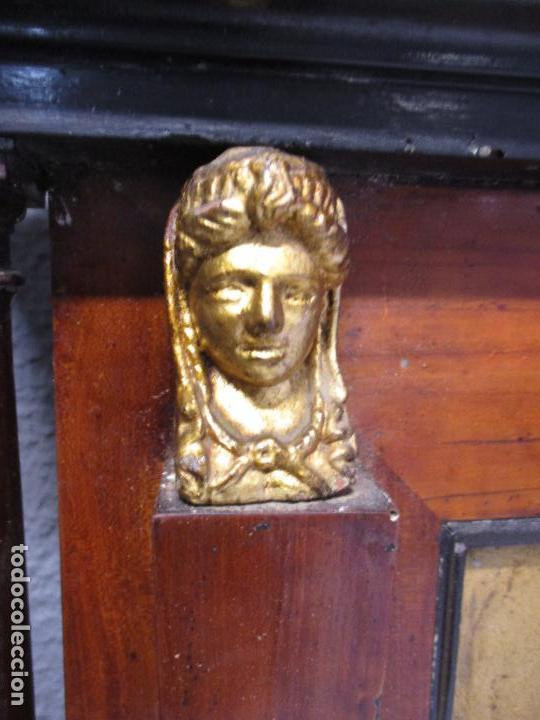 Antigüedades: Antigua Cama - Carlos IV - Madera de Caoba - Escultura en Terracota - Finales Siglo XVIII - Foto 16 - 72047155