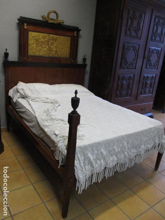 Antigüedades: Antigua Cama - Carlos IV - Madera de Caoba - Escultura en Terracota - Finales Siglo XVIII - Foto 25 - 72047155