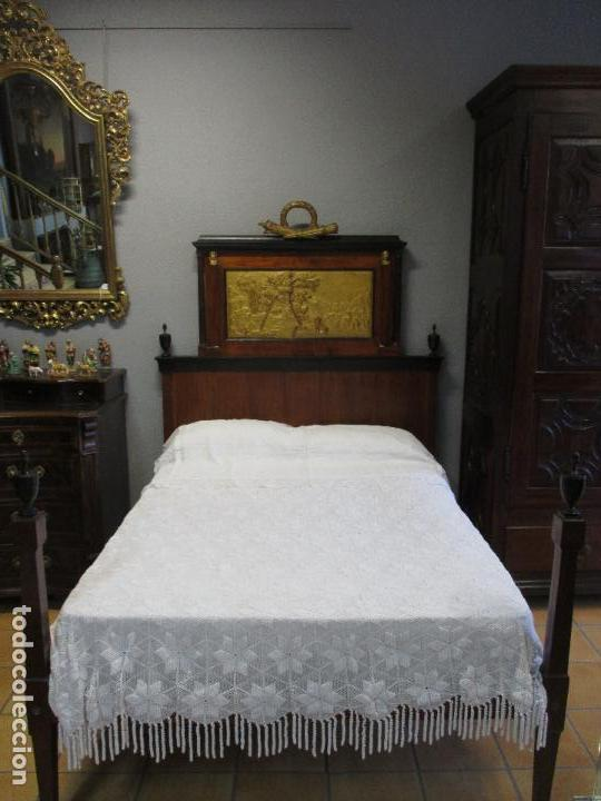 Antigüedades: Antigua Cama - Carlos IV - Madera de Caoba - Escultura en Terracota - Finales Siglo XVIII - Foto 30 - 72047155