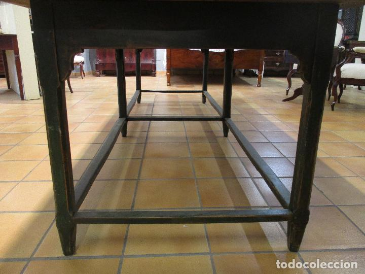 Antigüedades: Gran Mesa Antigua - Madera de Olmo - 305 cm Largo x 99,5 cm Ancho - Principios S. XIX - Foto 5 - 72049195
