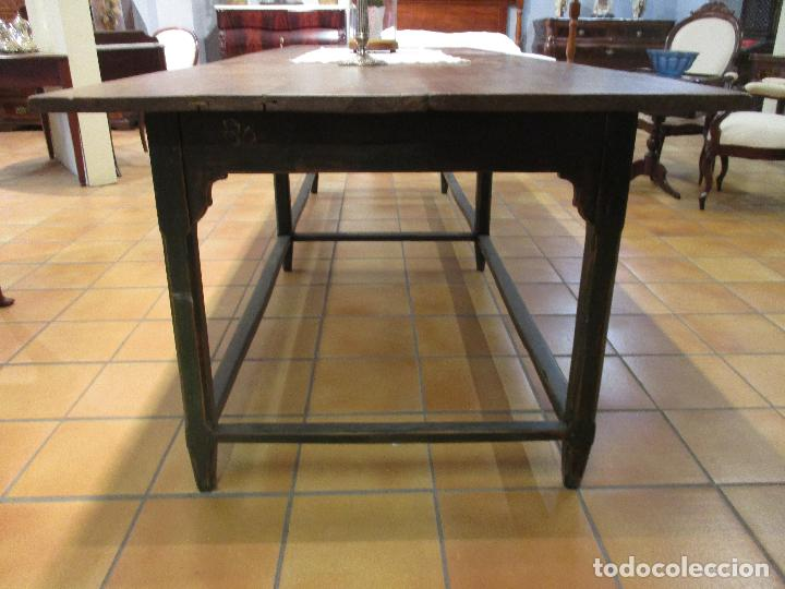 Antigüedades: Gran Mesa Antigua - Madera de Olmo - 305 cm Largo x 99,5 cm Ancho - Principios S. XIX - Foto 7 - 72049195