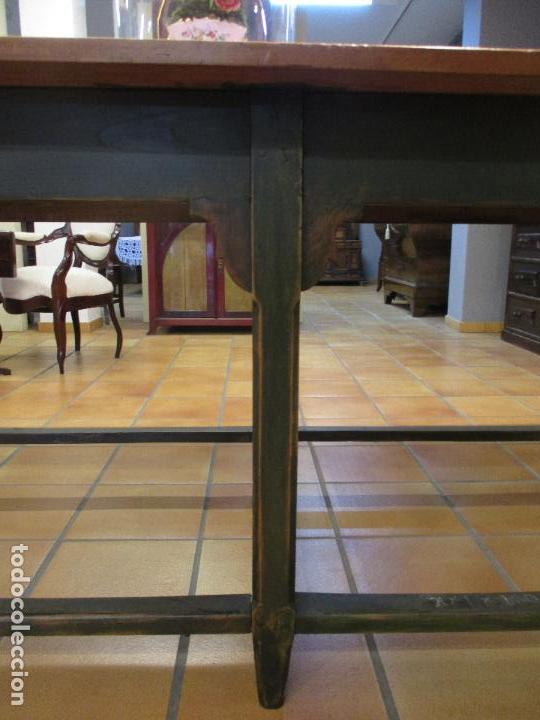 Antigüedades: Gran Mesa Antigua - Madera de Olmo - 305 cm Largo x 99,5 cm Ancho - Principios S. XIX - Foto 11 - 72049195