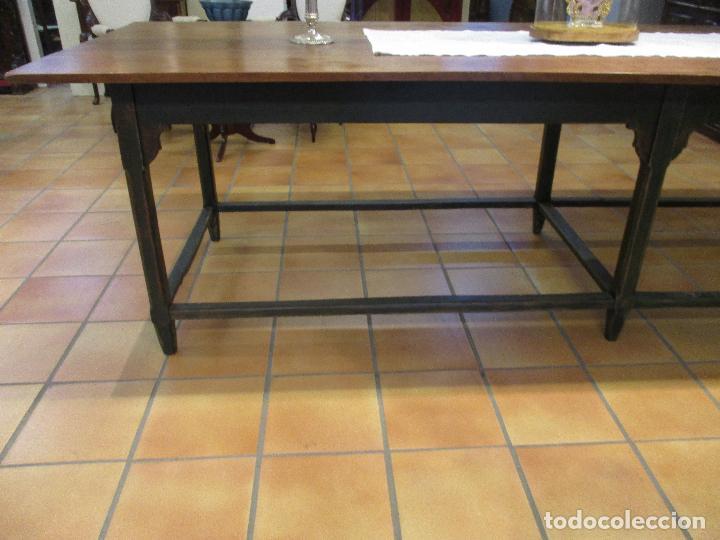 Antigüedades: Gran Mesa Antigua - Madera de Olmo - 305 cm Largo x 99,5 cm Ancho - Principios S. XIX - Foto 12 - 72049195