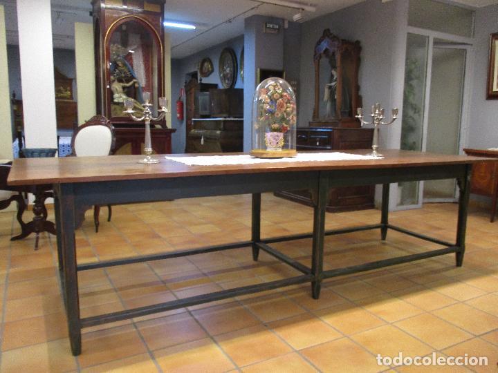 Antigüedades: Gran Mesa Antigua - Madera de Olmo - 305 cm Largo x 99,5 cm Ancho - Principios S. XIX - Foto 13 - 72049195