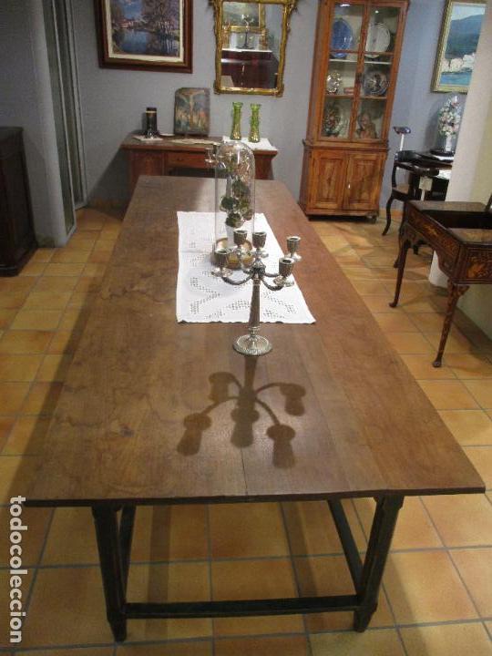 Antigüedades: Gran Mesa Antigua - Madera de Olmo - 305 cm Largo x 99,5 cm Ancho - Principios S. XIX - Foto 18 - 72049195