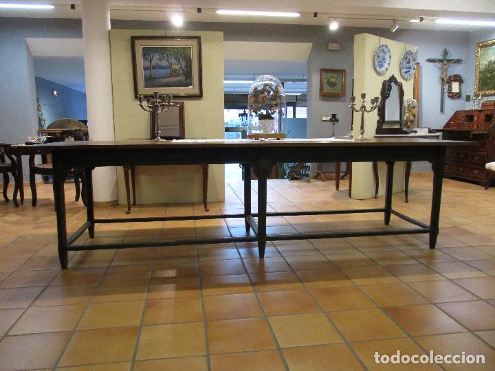 Antigüedades: Gran Mesa Antigua - Madera de Olmo - 305 cm Largo x 99,5 cm Ancho - Principios S. XIX - Foto 20 - 72049195