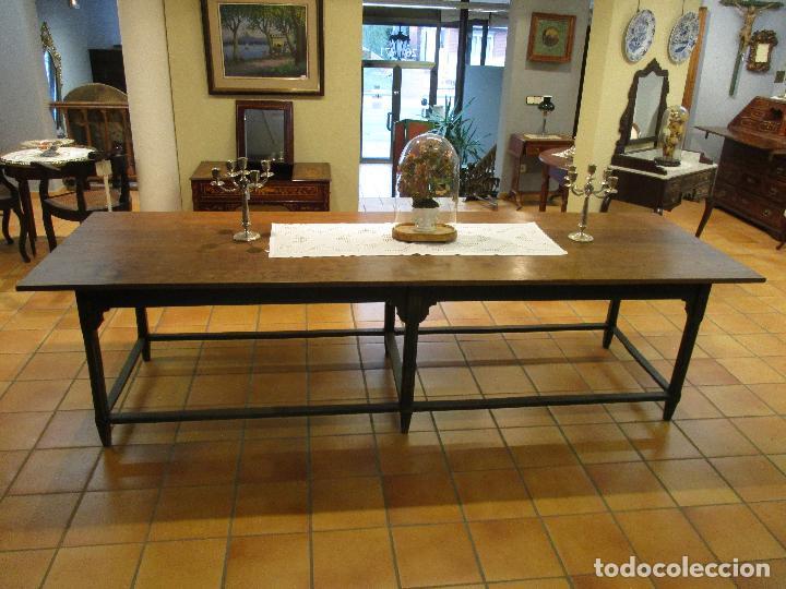 Antigüedades: Gran Mesa Antigua - Madera de Olmo - 305 cm Largo x 99,5 cm Ancho - Principios S. XIX - Foto 21 - 72049195