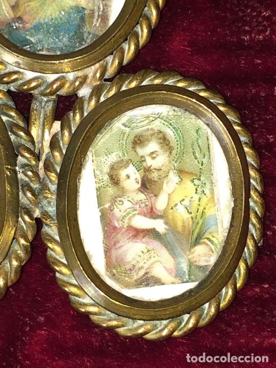 Antigüedades: PORTARETRATOS TRIPLE. BRONCE DORADO. CON RETRATOS ANTIGUOS DE SANTOS. ESPAÑA.XIX - Foto 5 - 69621065