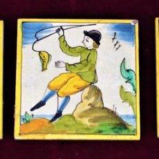Antigüedades: TRES AZULEJOS POLICROMADOS EN CERAMICA. CATALUNYA. ESPAÑA. CIRCA 1920. Lote 72136239