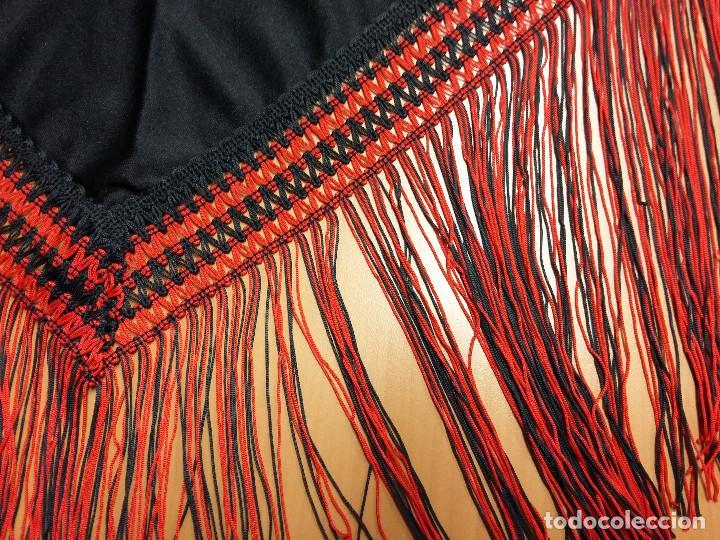 Antigüedades: manton triangular negro bordado flores rojas - Foto 4 - 72141943