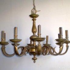 Antigüedades: GRAN LAMPARA DE BRONCE MACIZO 10 BRAZOS CON UN PESO DE 15 KG.. Lote 72161515