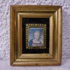 Antigüedades: MARCO DORADO ANTIGUO EN MINIATURA. S.XIX. MADERA, ESTUCO Y PAN DE ORO.. Lote 72207295