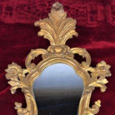 Antigüedades: CORNUCOPIA. MADERA TALLADA Y DORADA. ESPEJO DE ÉPOCA. ESPAÑA. XVIII. Lote 72223219