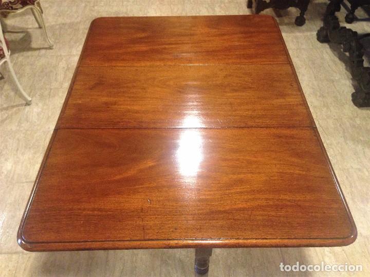 Antigüedades: Antigua mesa de caoba recién restaurada. Principio de silo XIX. - Foto 3 - 72277627