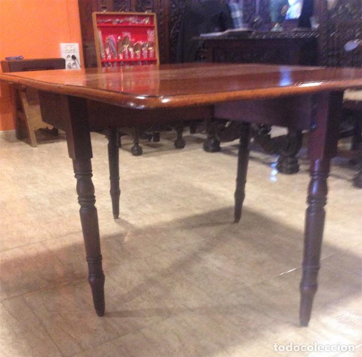 Antigüedades: Antigua mesa de caoba recién restaurada. Principio de silo XIX. - Foto 4 - 72277627