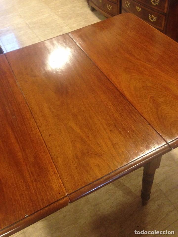 Antigüedades: Antigua mesa de caoba recién restaurada. Principio de silo XIX. - Foto 5 - 72277627