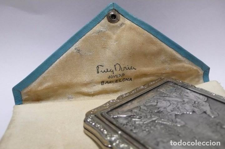Antigüedades: Polvera con cuadro escena galante de plata - mediados Siglo XX Made in England - Foto 6 - 72299747