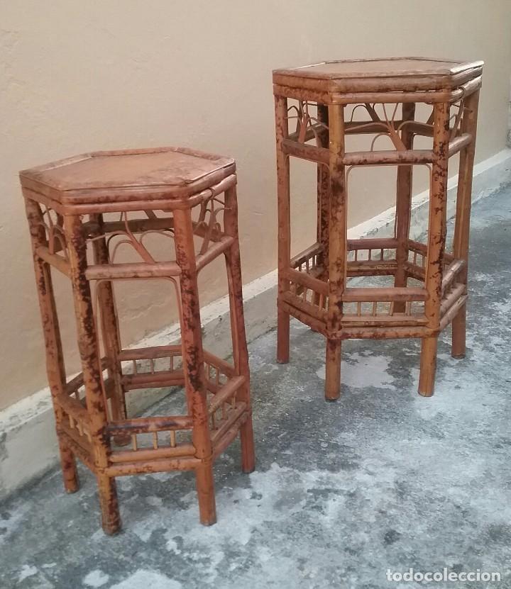 Pareja de veladores peanas para maceteros en mi comprar muebles auxiliares antiguos en - Maceteros de mimbre ...