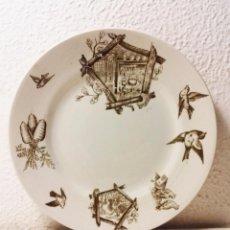 Antigüedades: PICKMAN LA CARTUJA DE SEVILLA LOTE 5 DE POSTRE, 3 HONDOS Y 3 PLANOS SERIE PÁJAROS SELLADOS. Lote 72346927