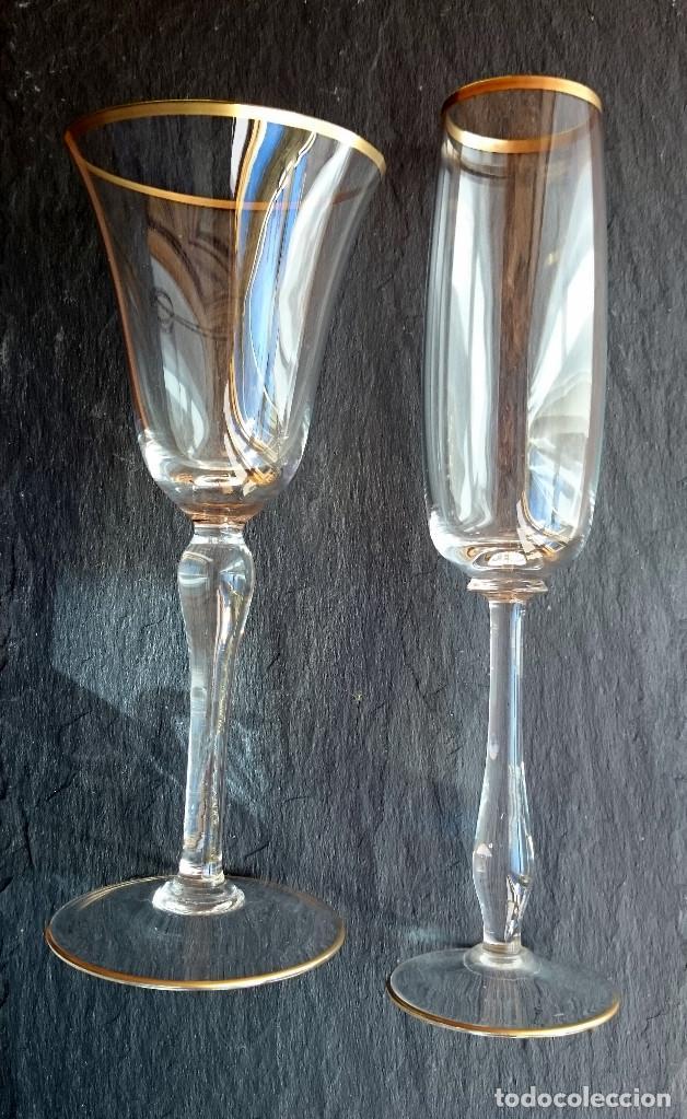 DOS COPAS DE CRISTAL DE BOHEMIA (Antigüedades - Cristal y Vidrio - Bohemia)
