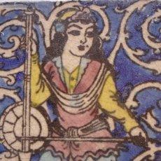 Antigüedades: PERSIA. AZULEJO SIGLO XVIII. MUCHACHA TOCANDO UN INSTRUMENTO MUSICAL. TAM. 15X15CM. ESMALTE VIDRIADO. Lote 72389839