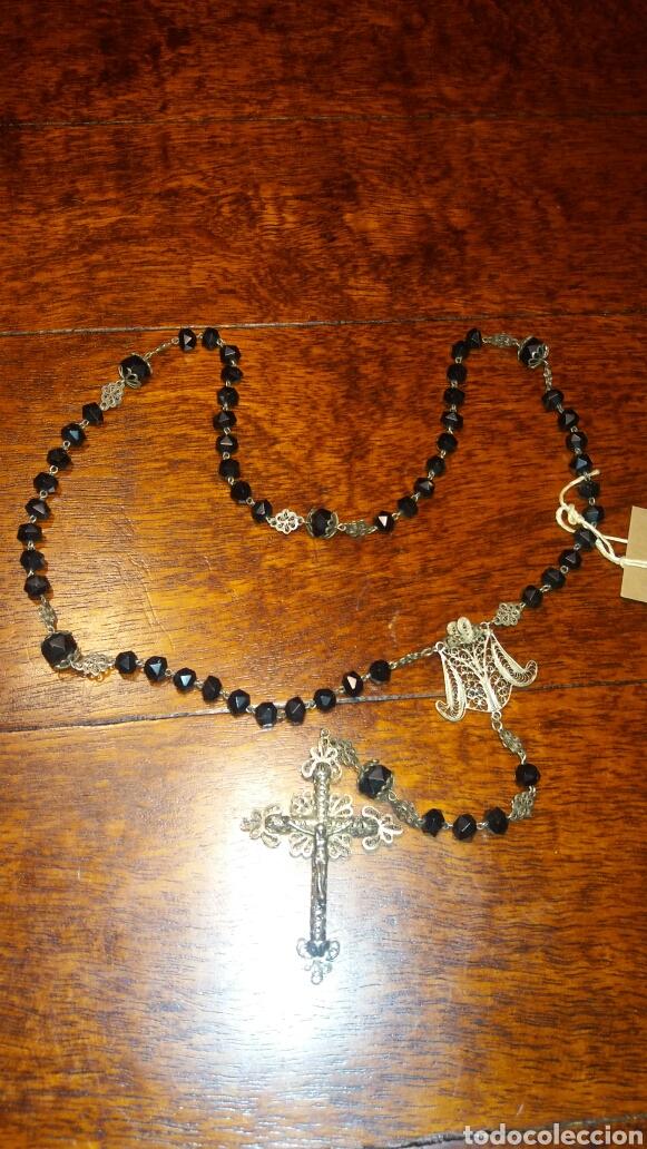 ANTIGUO ROSARIO DE FILIGRANA DE PLATA Y CRISTAL NEGRO (Antigüedades - Religiosas - Rosarios Antiguos)